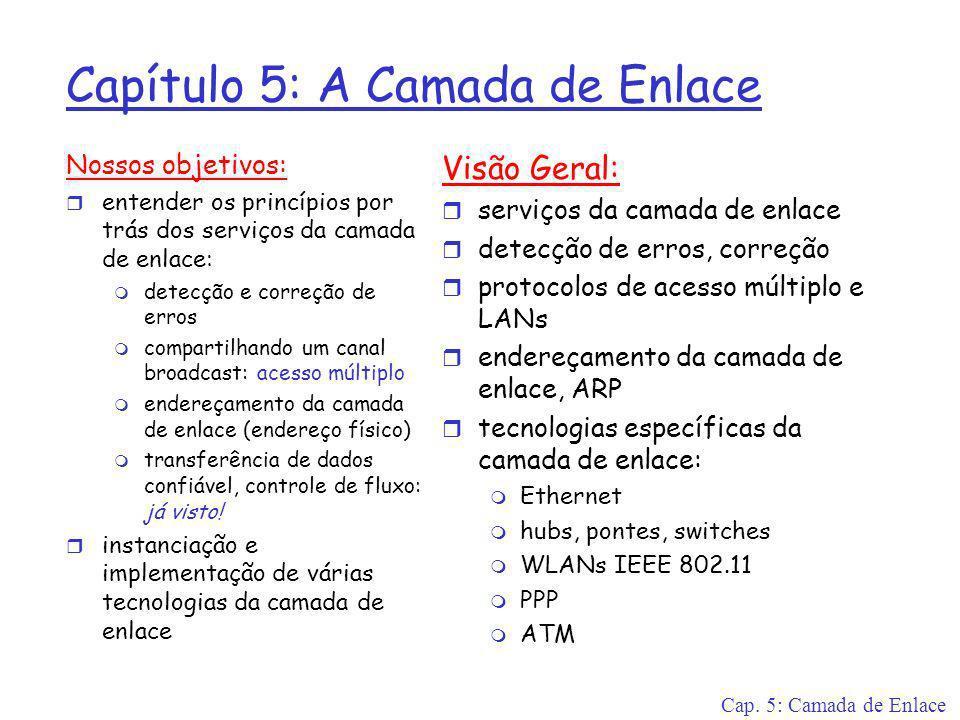 Cap. 5: Camada de Enlace Capítulo 5: A Camada de Enlace Nossos objetivos: r entender os princípios por trás dos serviços da camada de enlace: m detecç
