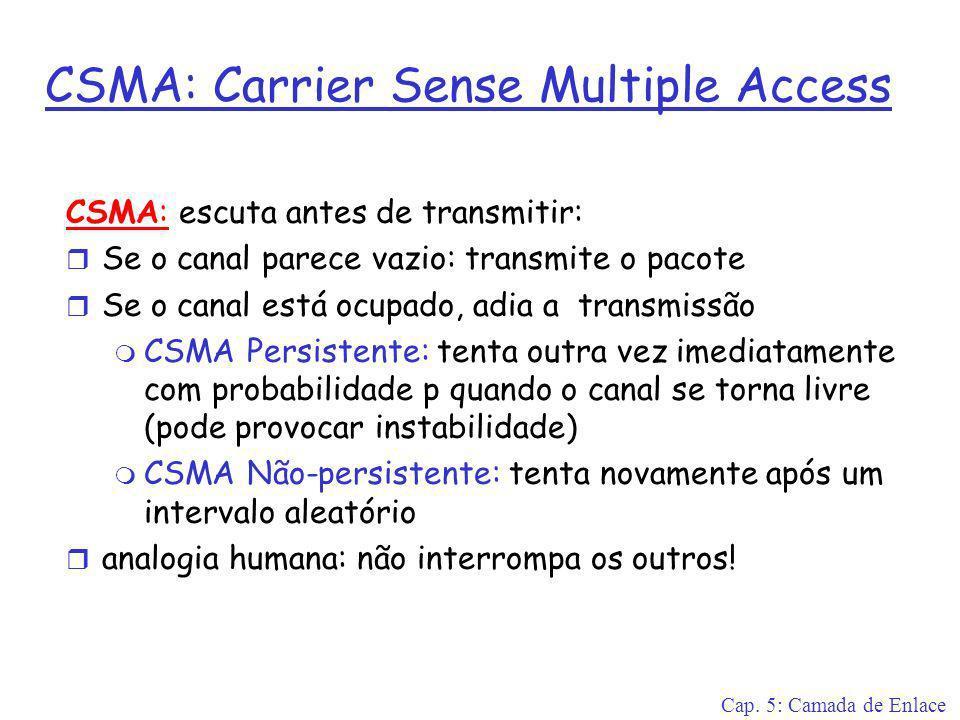 Cap. 5: Camada de Enlace CSMA: Carrier Sense Multiple Access CSMA: escuta antes de transmitir: r Se o canal parece vazio: transmite o pacote r Se o ca