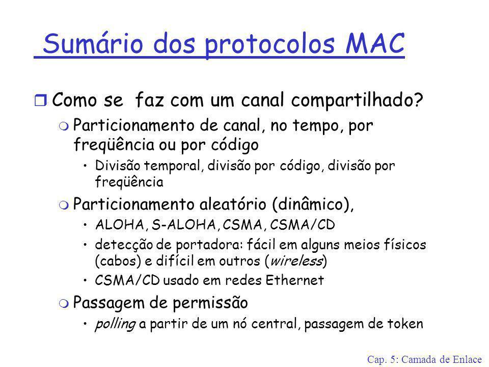 Cap. 5: Camada de Enlace Sumário dos protocolos MAC r Como se faz com um canal compartilhado? m Particionamento de canal, no tempo, por freqüência ou