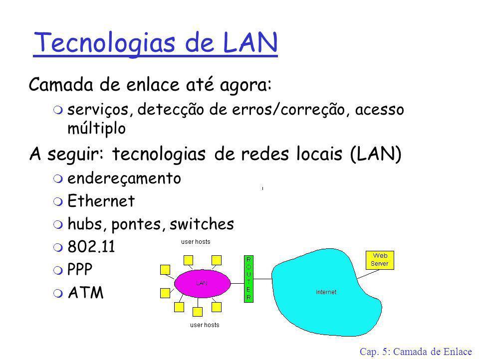 Cap. 5: Camada de Enlace Tecnologias de LAN Camada de enlace até agora: m serviços, detecção de erros/correção, acesso múltiplo A seguir: tecnologias