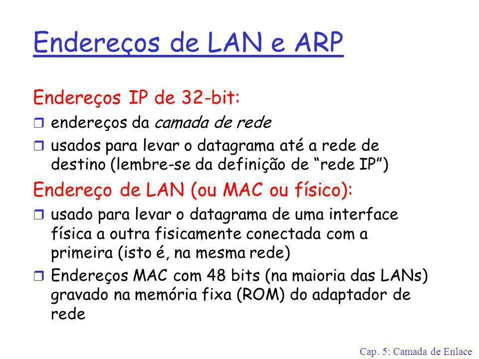 Cap. 5: Camada de Enlace Endereços de LAN e ARP Endereços IP de 32-bit: r endereços da camada de rede r usados para levar o datagrama até a rede de de