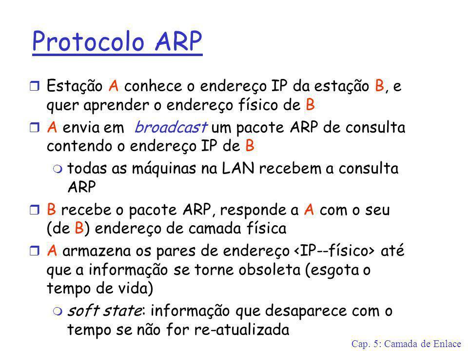 Cap. 5: Camada de Enlace Protocolo ARP r Estação A conhece o endereço IP da estação B, e quer aprender o endereço físico de B r A envia em broadcast u