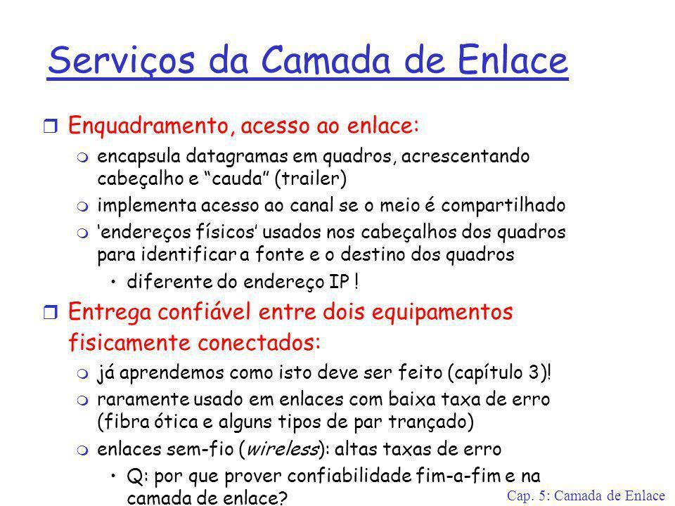 Cap. 5: Camada de Enlace Serviços da Camada de Enlace r Enquadramento, acesso ao enlace: m encapsula datagramas em quadros, acrescentando cabeçalho e