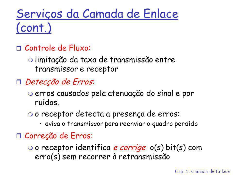 Cap. 5: Camada de Enlace Serviços da Camada de Enlace (cont.) r Controle de Fluxo: m limitação da taxa de transmissão entre transmissor e receptor r D