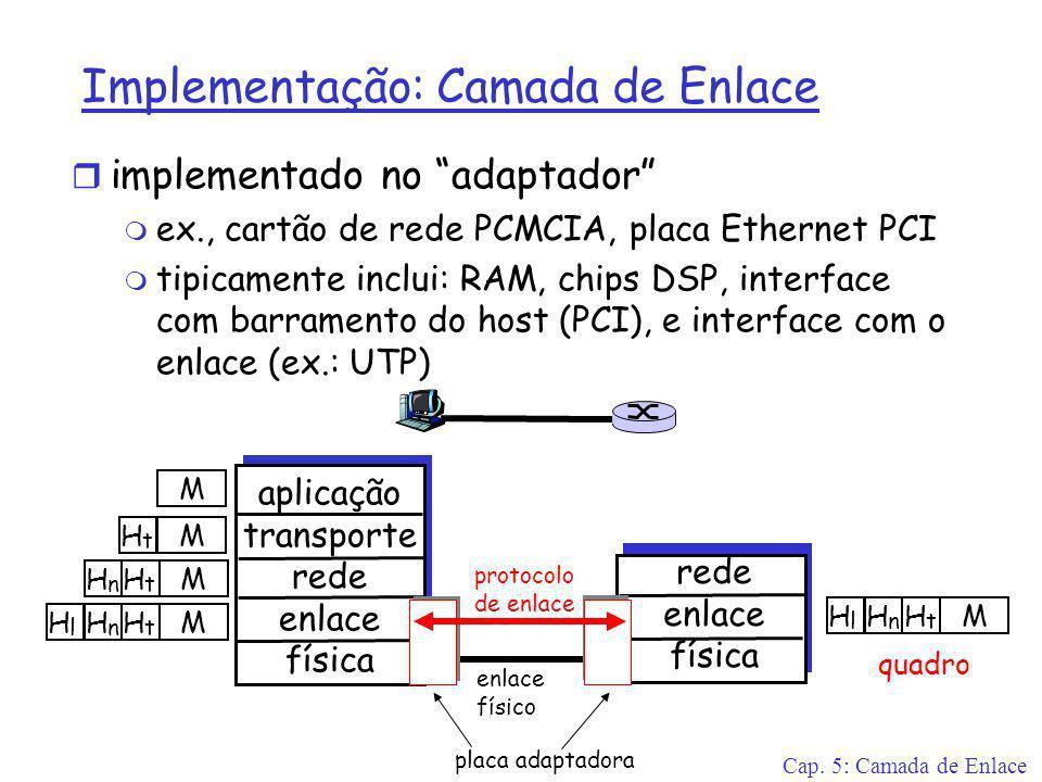 Cap. 5: Camada de Enlace Implementação: Camada de Enlace r implementado no adaptador m ex., cartão de rede PCMCIA, placa Ethernet PCI m tipicamente in