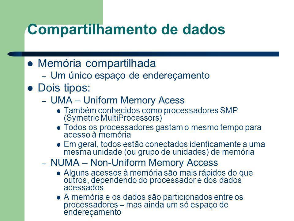 Compartilhamento de dados Memória compartilhada – Um único espaço de endereçamento Dois tipos: – UMA – Uniform Memory Acess Também conhecidos como processadores SMP (Symetric MultiProcessors) Todos os processadores gastam o mesmo tempo para acesso à memória Em geral, todos estão conectados identicamente a uma mesma unidade (ou grupo de unidades) de memória – NUMA – Non-Uniform Memory Access Alguns acessos à memória são mais rápidos do que outros, dependendo do processador e dos dados acessados A memória e os dados são particionados entre os processadores – mas ainda um só espaço de endereçamento