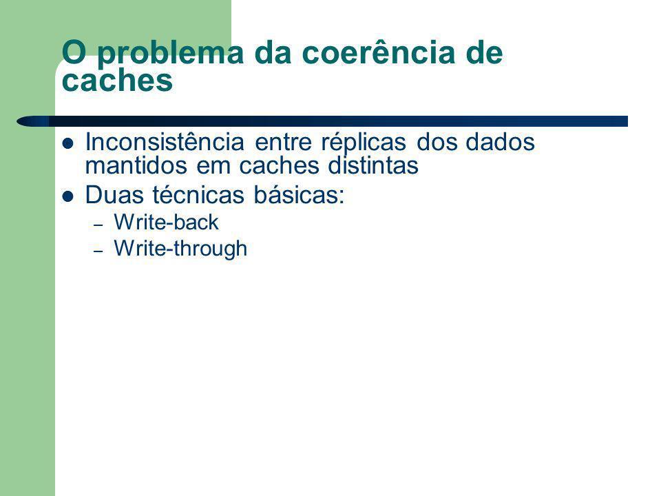 O problema da coerência de caches Inconsistência entre réplicas dos dados mantidos em caches distintas Duas técnicas básicas: – Write-back – Write-through