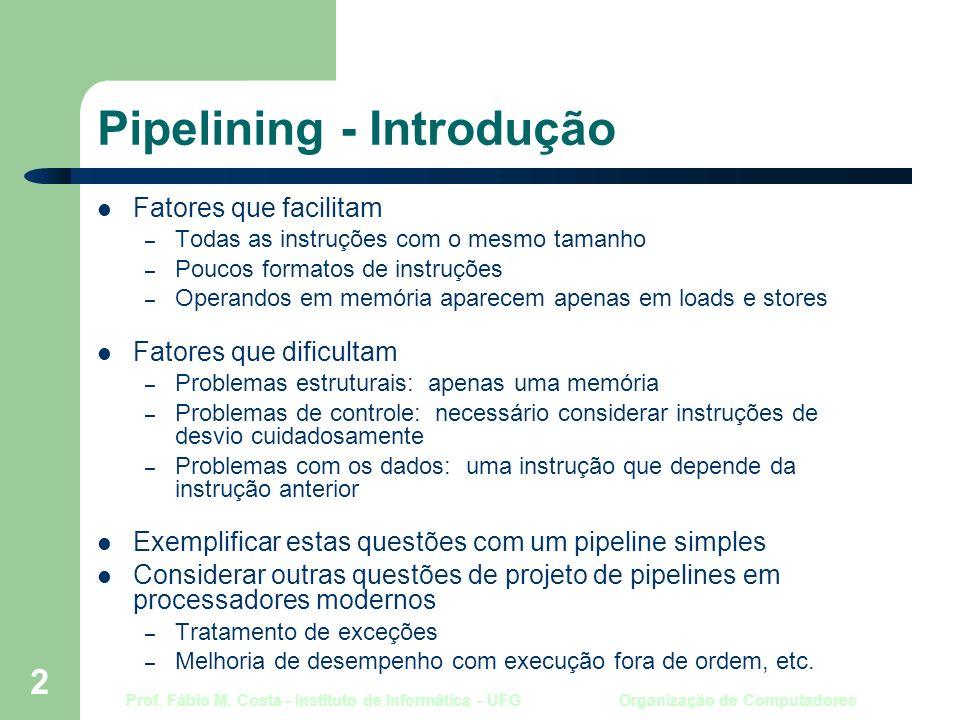 Prof. Fábio M. Costa - Instituto de Informática - UFG Organização de Computadores 2 Pipelining - Introdução Fatores que facilitam – Todas as instruçõe