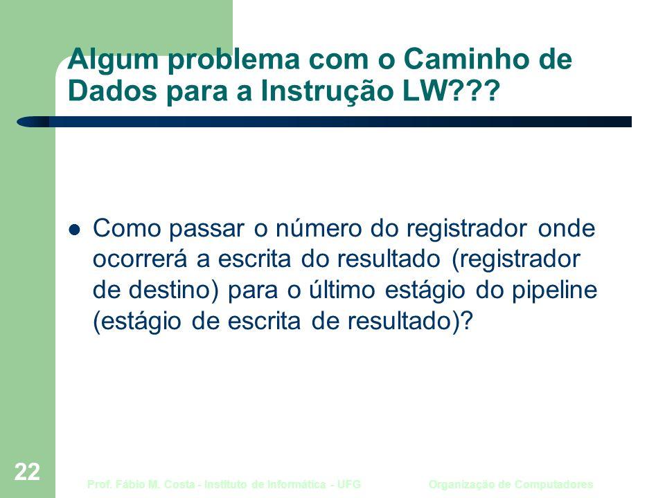 Prof. Fábio M. Costa - Instituto de Informática - UFG Organização de Computadores 22 Algum problema com o Caminho de Dados para a Instrução LW??? Como