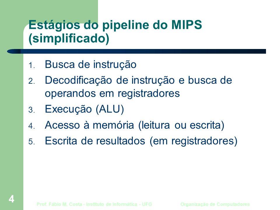 Prof. Fábio M. Costa - Instituto de Informática - UFG Organização de Computadores 4 Estágios do pipeline do MIPS (simplificado) 1. Busca de instrução
