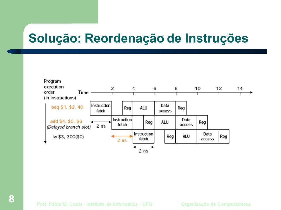 Prof. Fábio M. Costa - Instituto de Informática - UFG Organização de Computadores 8 Solução: Reordenação de Instruções