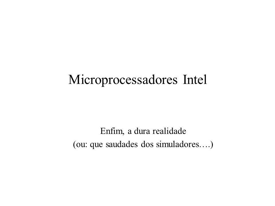 Microprocessador Intel 80386 Modos real (8086), virtual (protegido) e virtual86 Comunicação com a memória em 16 (SX) ou 32 bits (DX) Capacidade máxima de memória de 4 GByte 14 registradores (os do 8086, estendidos para 32 bits) e mais 2 registradores de segmento