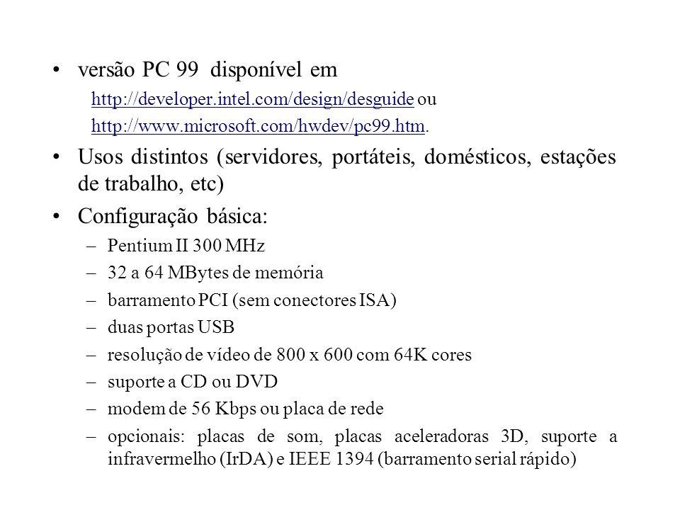 Microprocessador Intel 8086 Arquitetura de 16 bits Comunicação com a memória em 16 (8086) ou 8 (8088) bits Capacidade máxima de memória de 1 MByte 14 registradores (4 dado, 4 endereço, 4 segmento, ponteiro do programa, flags) endereço físico = segmento * 16 + deslocamento 85 instruções básicas co-processador: 8087 (67 instruções básicas)