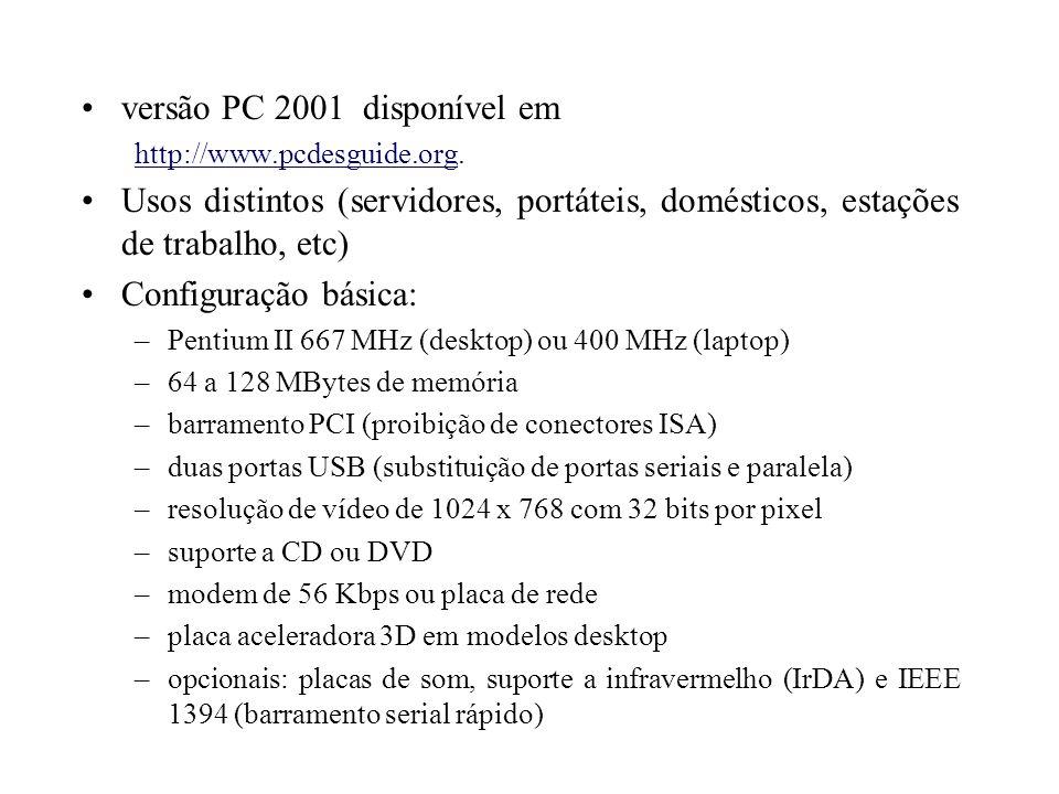 Microprocessador Intel Pentium III Arquitetura do Pentium II (P6) Novo tipo de dado: floating packed 70 instruções extras (além das 167 básicas e 57 MMX) Instruções para processamento de vetores inteiros (MMX) ou de ponto flutuante (SSE) 8 novos registradores físicos (XMM0 a XMM7), de 128 bits, para as instruções SSE