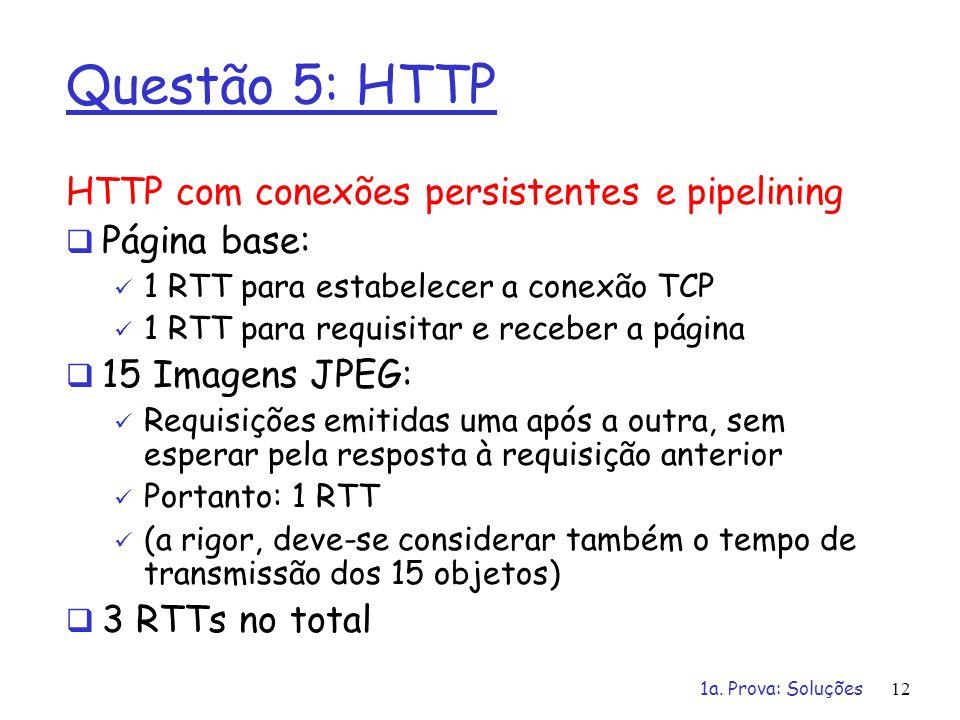 1a. Prova: Soluções12 Questão 5: HTTP HTTP com conexões persistentes e pipelining Página base: 1 RTT para estabelecer a conexão TCP 1 RTT para requisi