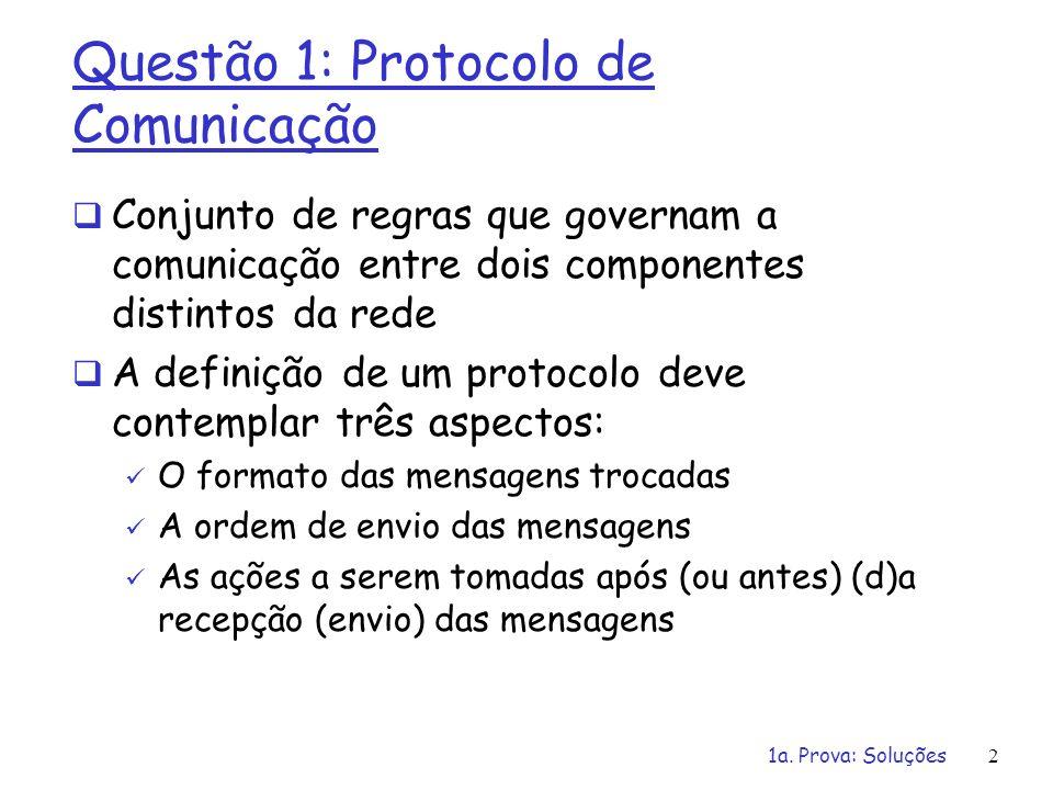 1a. Prova: Soluções2 Questão 1: Protocolo de Comunicação Conjunto de regras que governam a comunicação entre dois componentes distintos da rede A defi