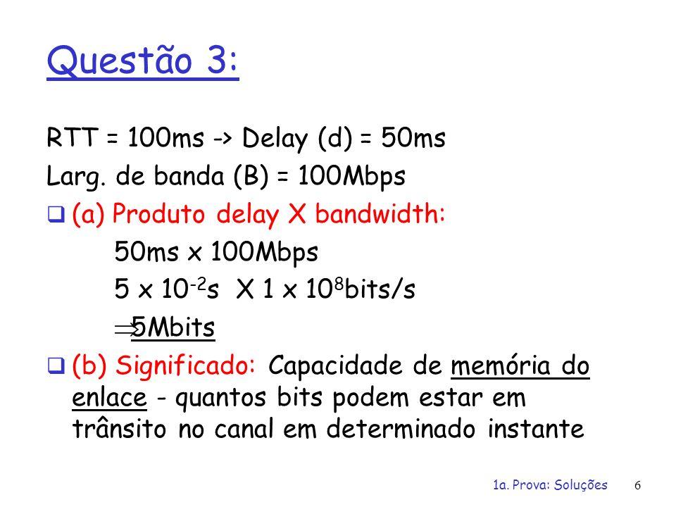 1a. Prova: Soluções6 Questão 3: RTT = 100ms -> Delay (d) = 50ms Larg. de banda (B) = 100Mbps (a) Produto delay X bandwidth: 50ms x 100Mbps 5 x 10 -2 s