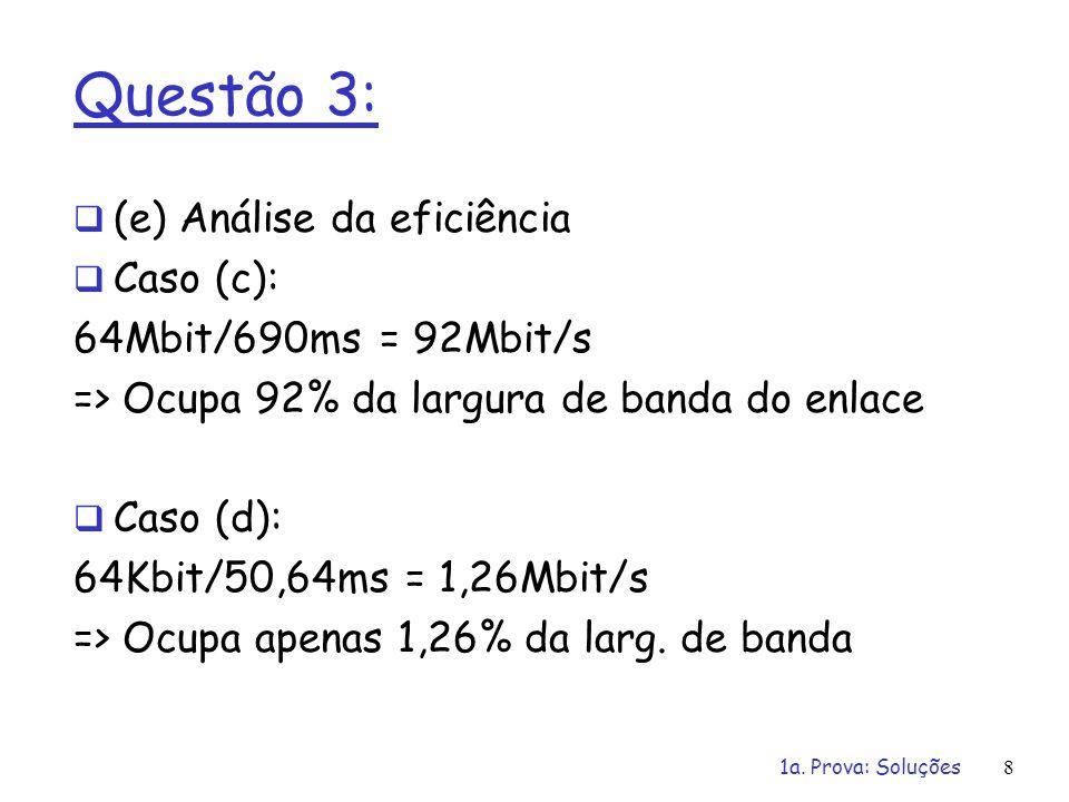 1a. Prova: Soluções8 Questão 3: (e) Análise da eficiência Caso (c): 64Mbit/690ms = 92Mbit/s => Ocupa 92% da largura de banda do enlace Caso (d): 64Kbi