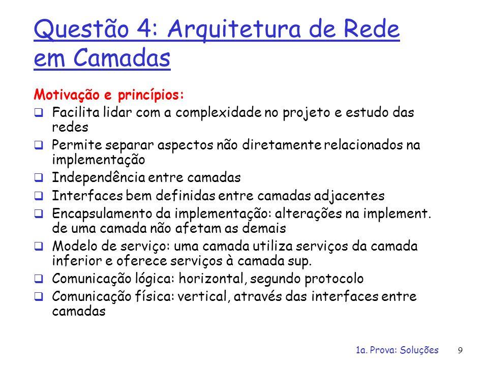 1a. Prova: Soluções9 Questão 4: Arquitetura de Rede em Camadas Motivação e princípios: Facilita lidar com a complexidade no projeto e estudo das redes