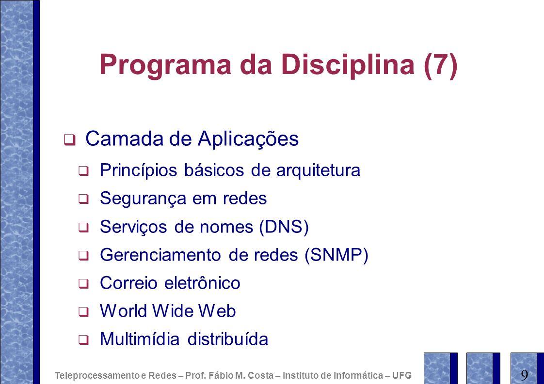 Programa da Disciplina (7) Camada de Aplicações Princípios básicos de arquitetura Segurança em redes Serviços de nomes (DNS) Gerenciamento de redes (S