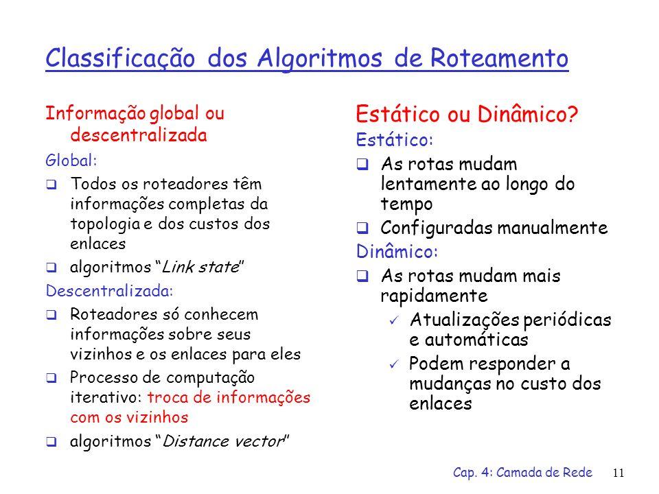 Cap. 4: Camada de Rede11 Classificação dos Algoritmos de Roteamento Informação global ou descentralizada Global: Todos os roteadores têm informações c