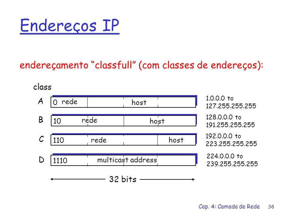 Cap. 4: Camada de Rede36 Endereços IP 0 rede host 10 rede host 110 redehost 1110 multicast address A B C D class 1.0.0.0 to 127.255.255.255 128.0.0.0