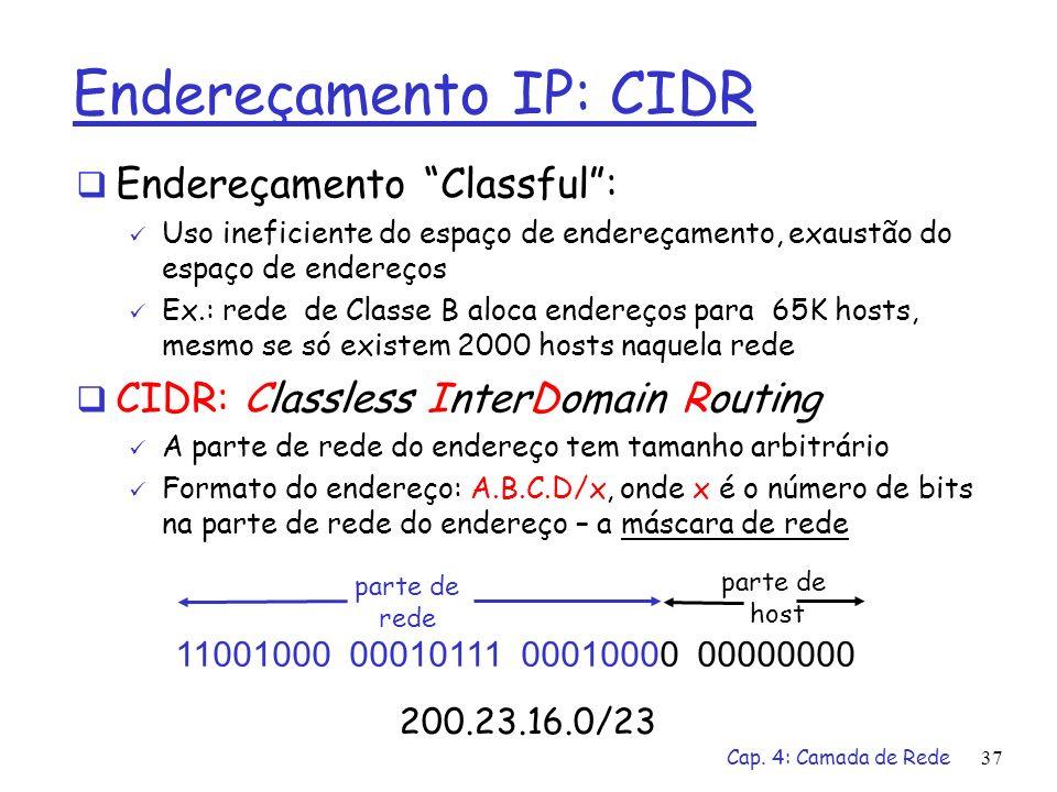 Cap. 4: Camada de Rede37 Endereçamento IP: CIDR Endereçamento Classful: Uso ineficiente do espaço de endereçamento, exaustão do espaço de endereços Ex