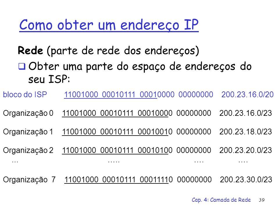Cap. 4: Camada de Rede39 Como obter um endereço IP Rede (parte de rede dos endereços) Obter uma parte do espaço de endereços do seu ISP: bloco do ISP