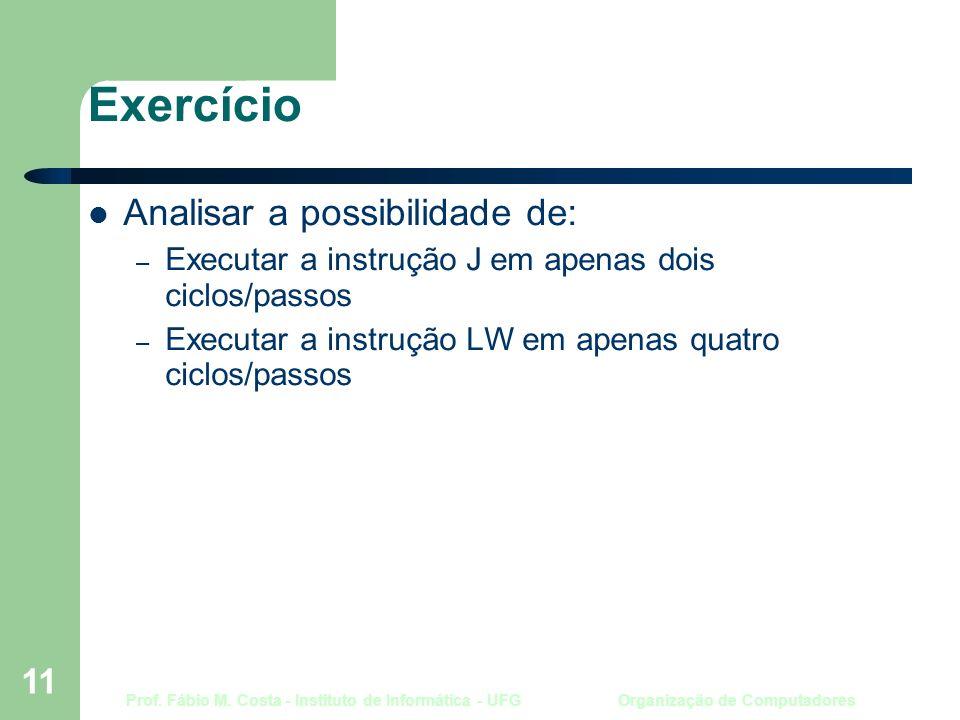 Prof. Fábio M. Costa - Instituto de Informática - UFG Organização de Computadores 11 Exercício Analisar a possibilidade de: – Executar a instrução J e