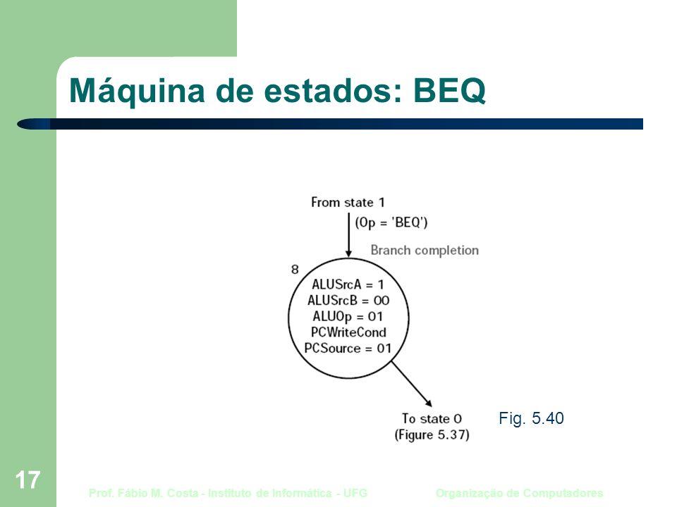 Prof. Fábio M. Costa - Instituto de Informática - UFG Organização de Computadores 17 Máquina de estados: BEQ Fig. 5.40