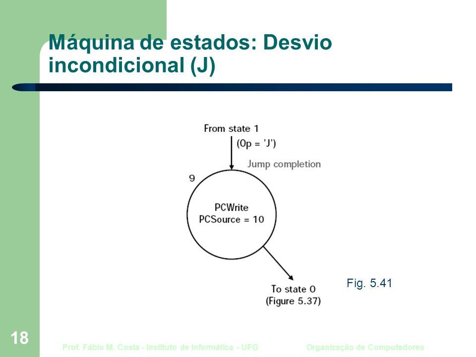 Prof. Fábio M. Costa - Instituto de Informática - UFG Organização de Computadores 18 Máquina de estados: Desvio incondicional (J) Fig. 5.41