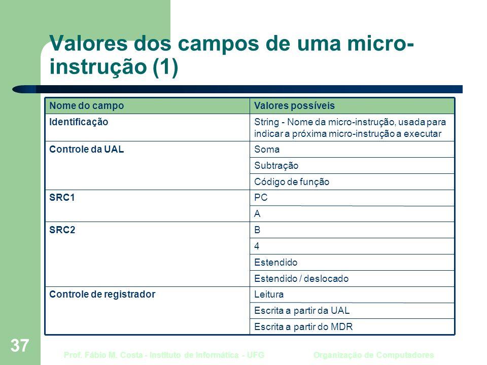 Prof. Fábio M. Costa - Instituto de Informática - UFG Organização de Computadores 37 Valores dos campos de uma micro- instrução (1) Escrita a partir d
