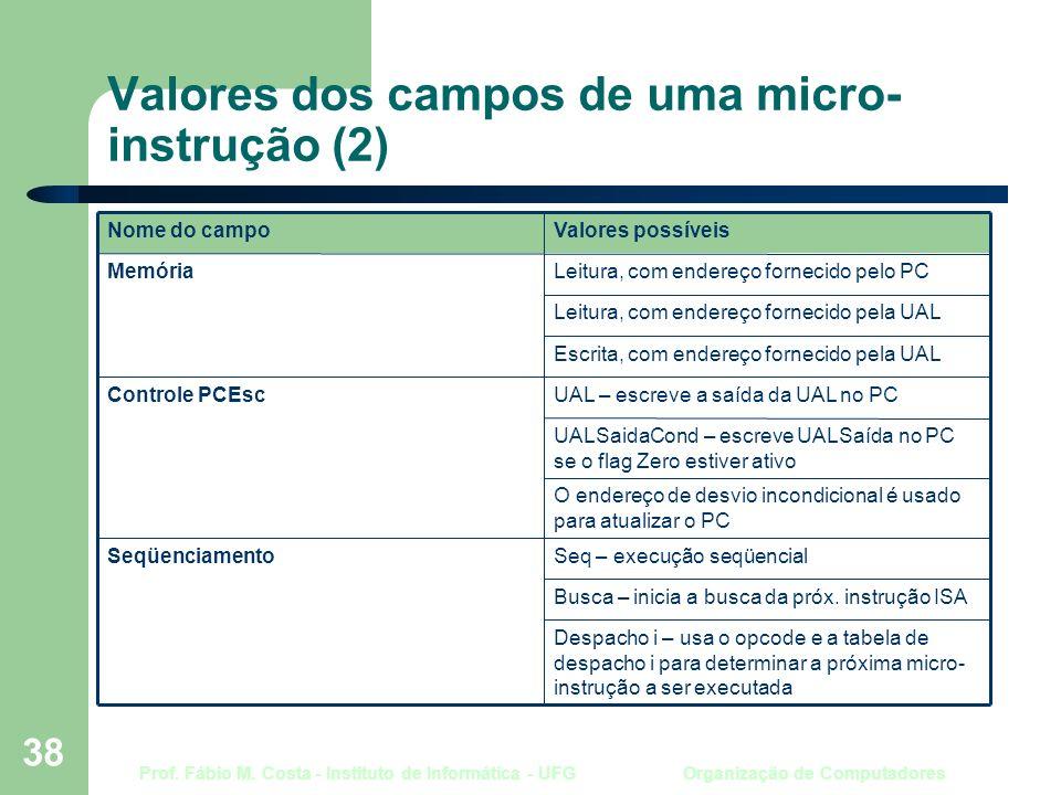 Prof. Fábio M. Costa - Instituto de Informática - UFG Organização de Computadores 38 Valores dos campos de uma micro- instrução (2) Despacho i – usa o