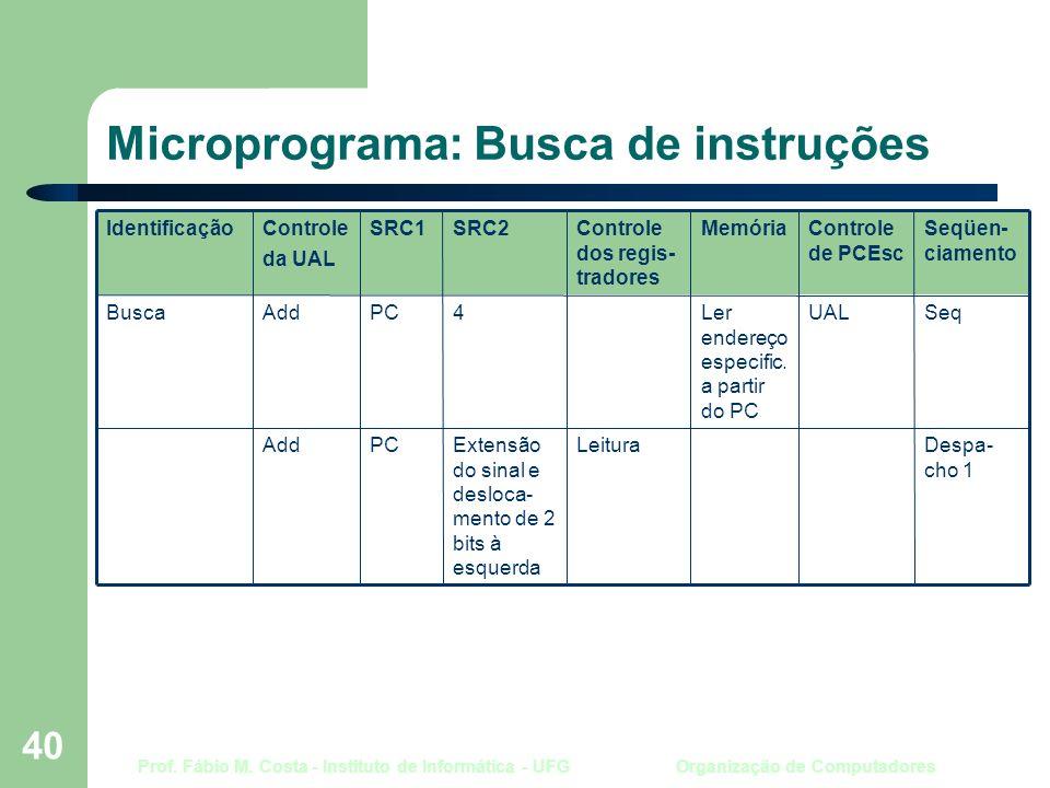 Prof. Fábio M. Costa - Instituto de Informática - UFG Organização de Computadores 40 Microprograma: Busca de instruções Despa- cho 1 LeituraExtensão d
