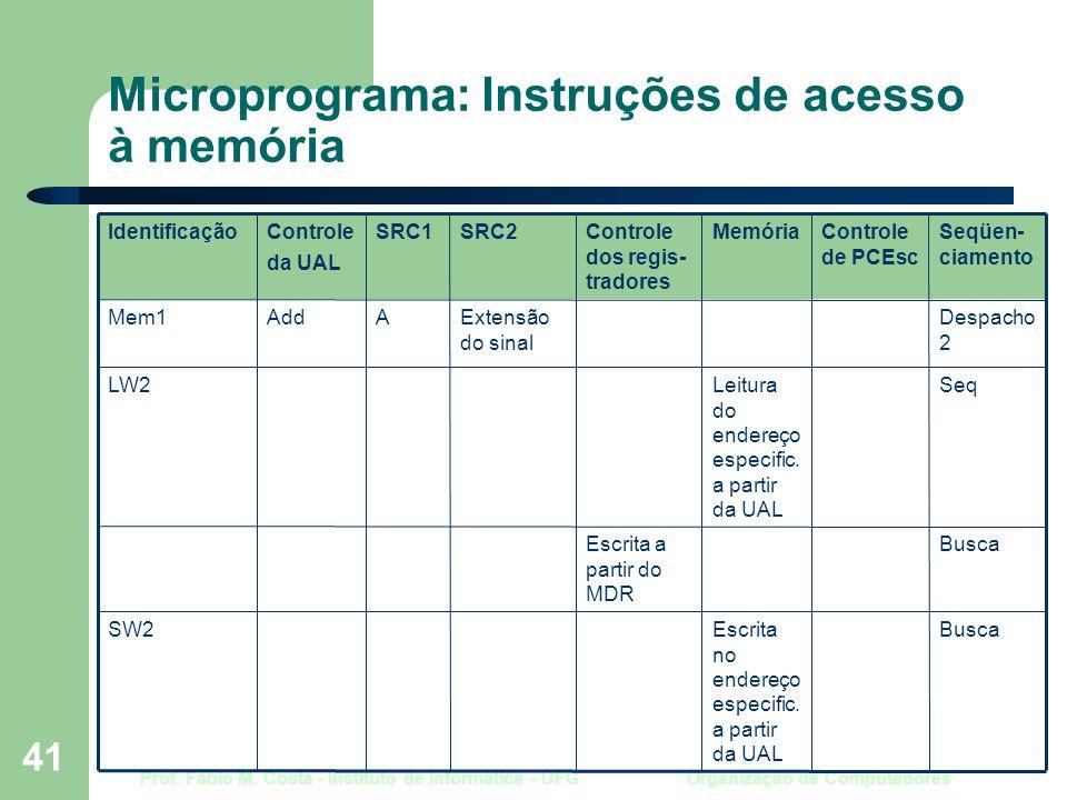 Prof. Fábio M. Costa - Instituto de Informática - UFG Organização de Computadores 41 Microprograma: Instruções de acesso à memória BuscaEscrita a part