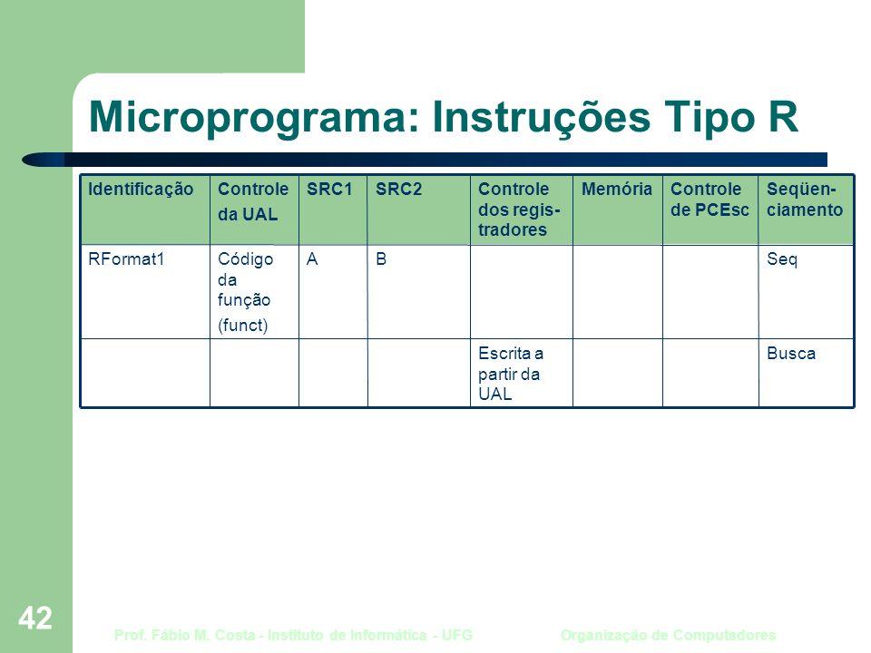 Prof. Fábio M. Costa - Instituto de Informática - UFG Organização de Computadores 42 Microprograma: Instruções Tipo R BuscaEscrita a partir da UAL Seq