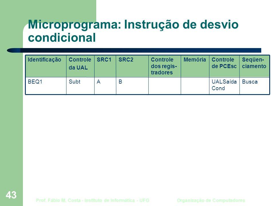Prof. Fábio M. Costa - Instituto de Informática - UFG Organização de Computadores 43 Microprograma: Instrução de desvio condicional BuscaUALSaída Cond