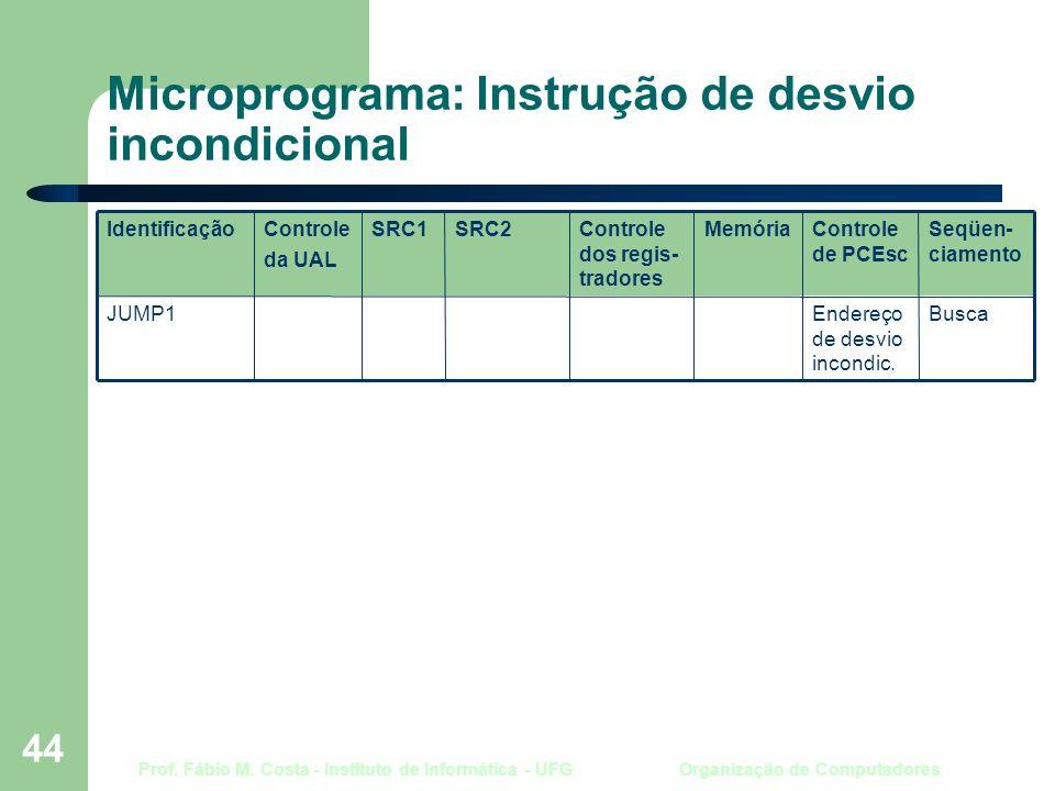 Prof. Fábio M. Costa - Instituto de Informática - UFG Organização de Computadores 44 Microprograma: Instrução de desvio incondicional BuscaEndereço de