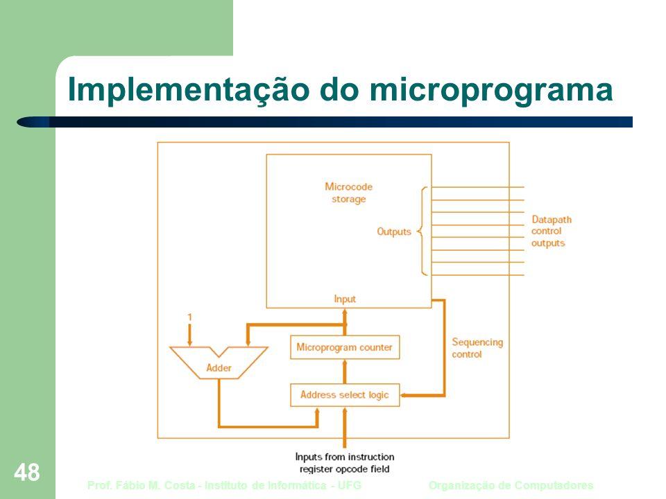 Prof. Fábio M. Costa - Instituto de Informática - UFG Organização de Computadores 48 Implementação do microprograma