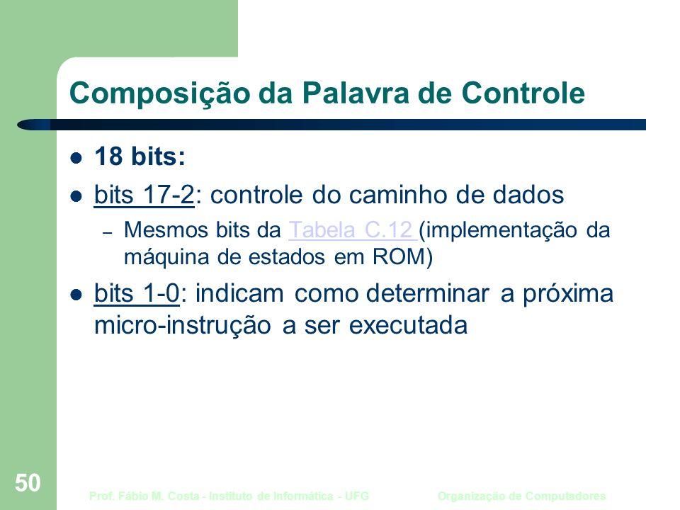 Prof. Fábio M. Costa - Instituto de Informática - UFG Organização de Computadores 50 Composição da Palavra de Controle 18 bits: bits 17-2: controle do