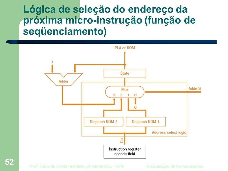 Prof. Fábio M. Costa - Instituto de Informática - UFG Organização de Computadores 52 Lógica de seleção do endereço da próxima micro-instrução (função