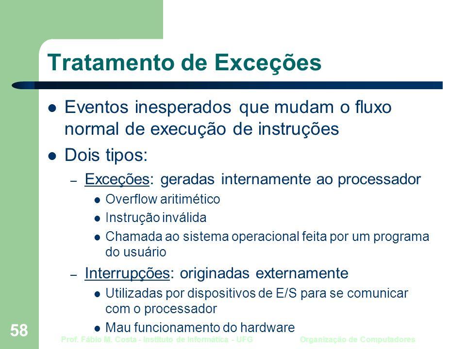 Prof. Fábio M. Costa - Instituto de Informática - UFG Organização de Computadores 58 Tratamento de Exceções Eventos inesperados que mudam o fluxo norm