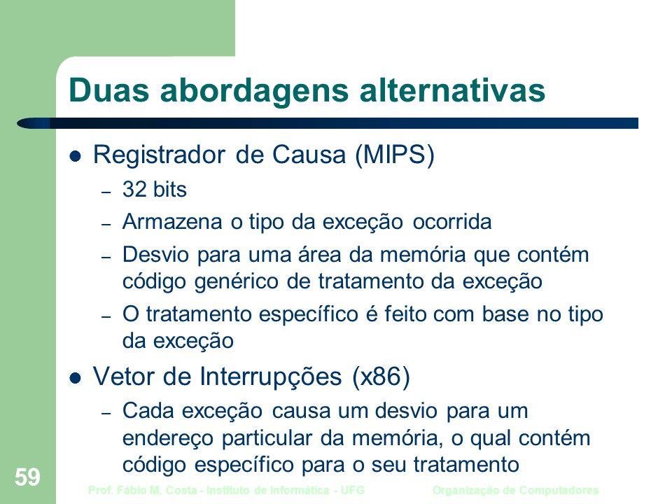 Prof. Fábio M. Costa - Instituto de Informática - UFG Organização de Computadores 59 Duas abordagens alternativas Registrador de Causa (MIPS) – 32 bit