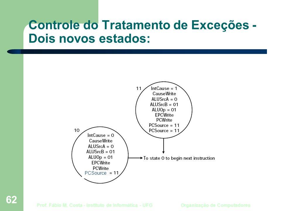 Prof. Fábio M. Costa - Instituto de Informática - UFG Organização de Computadores 62 Controle do Tratamento de Exceções - Dois novos estados: PCSource