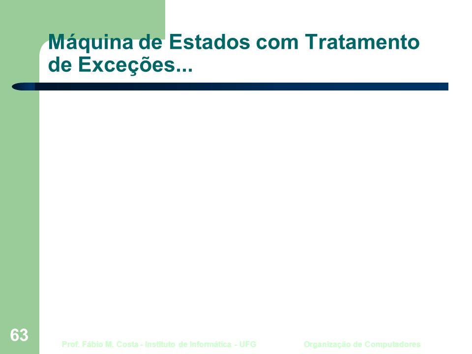 Prof. Fábio M. Costa - Instituto de Informática - UFG Organização de Computadores 63 Máquina de Estados com Tratamento de Exceções...
