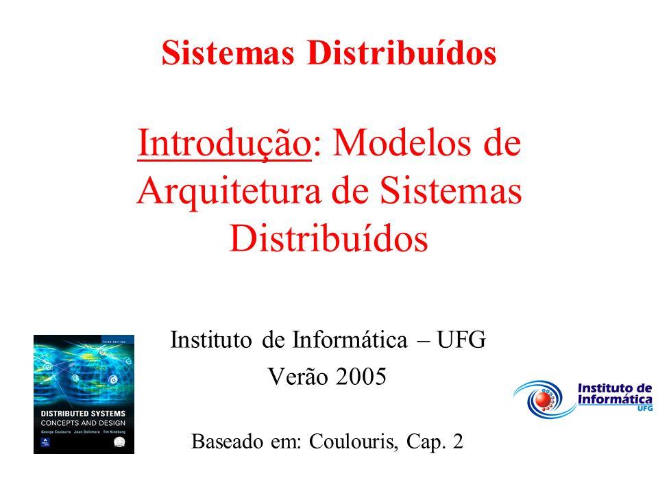Sistemas Distribuídos Introdução: Modelos de Arquitetura de Sistemas Distribuídos Instituto de Informática – UFG Verão 2005 Baseado em: Coulouris, Cap.