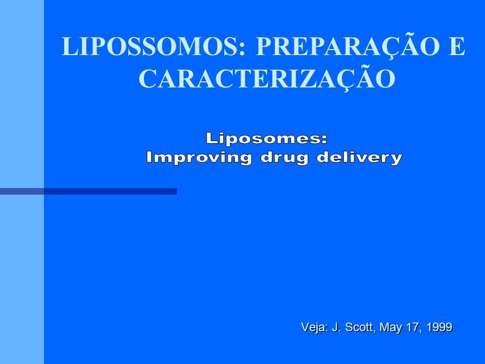 PREPARAÇÃOES DE FARMACOS LIPOSSOMAIS Tipo de agenteExrmplos Anticancer Anti bacterial Antiviral Material DNA Enzimas Radionucleoideos Fungicidas Vacinas *Atualmente em Ensaios Clinicos ou Aprovados para uso Clínico Malaria merozoite, Malaria sporozoite Hepatitis B antigen, Rabies virus glycoprotein Amphotericin B* In-111*, Tc-99m Hexosaminidase A Glucocerebrosidase, Peroxidase Duanorubicin,Doxorubicin*, Epirubicin Methotrexate, Cisplatin*, Cytarabin Triclosan, Clindamycin hydrochloride, Ampicillin, peperacillin, rifamicin AZT cDNA - CFTR*