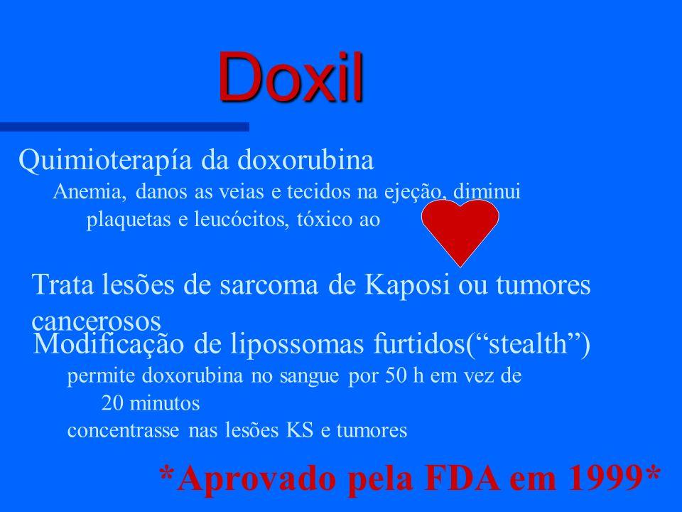 Doxil Quimioterapía da doxorubina Anemia, danos as veias e tecidos na ejeção, diminui plaquetas e leucócitos, tóxico ao Trata lesões de sarcoma de Kap