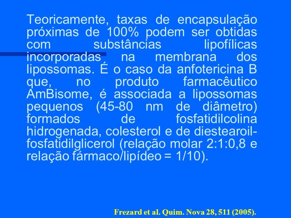 n n Teoricamente, taxas de encapsulação próximas de 100% podem ser obtidas com substâncias lipofílicas incorporadas na membrana dos lipossomas. É o ca