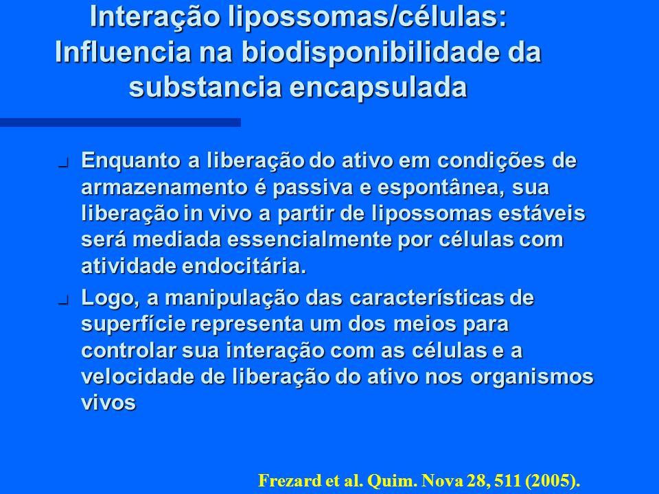 Interação lipossomas/células: Influencia na biodisponibilidade da substancia encapsulada n Enquanto a liberação do ativo em condições de armazenamento